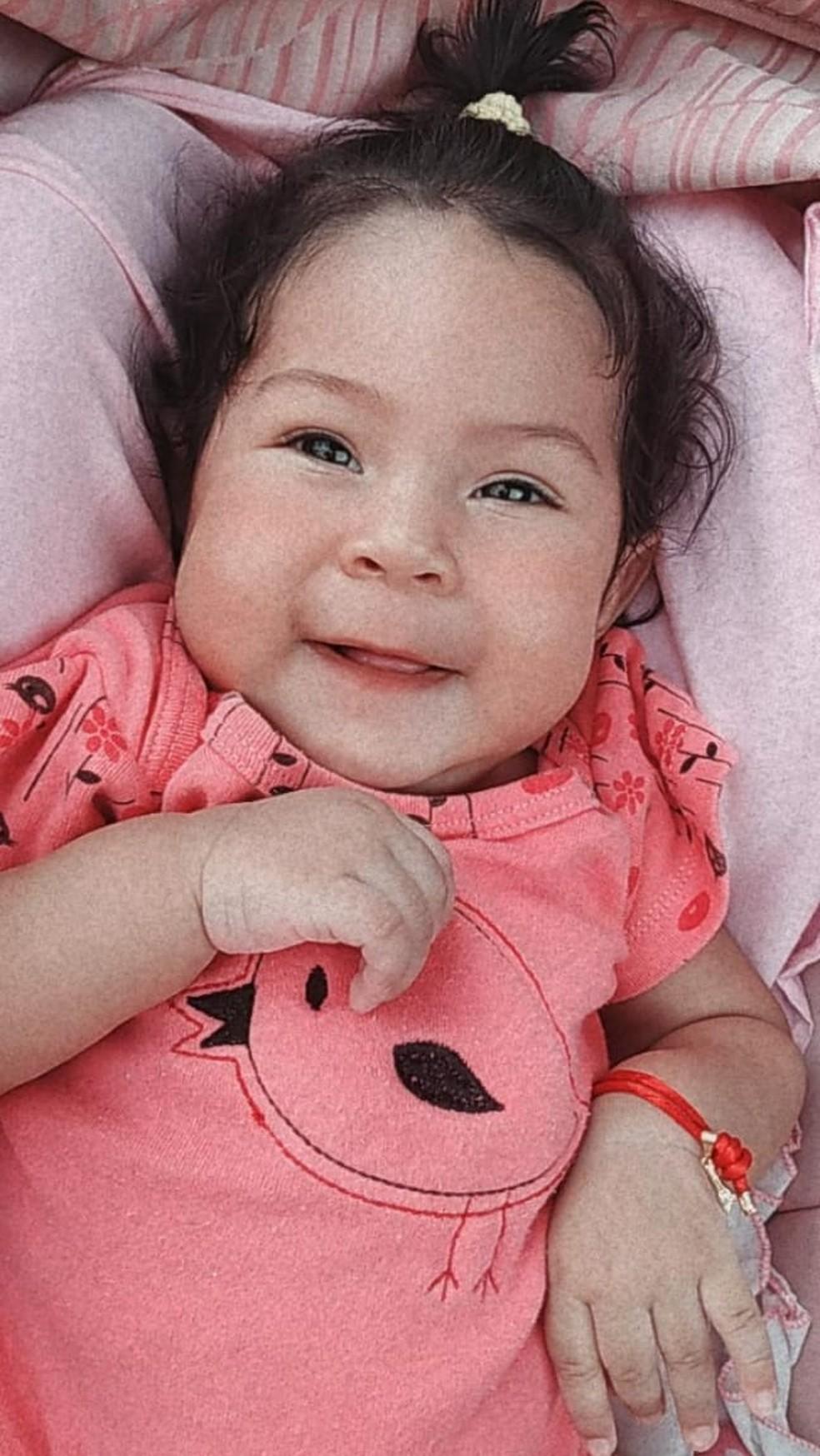 Alice Dias Pereira tinha 5 meses quando foi diagnosticada com Amiotrofia Muscular Espinhal (AME) — Foto: Arquivo pessoal
