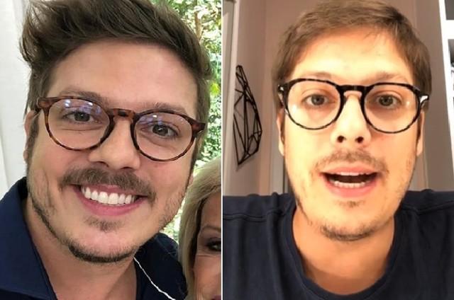 À direita, Fabio Porchat no programa 'Mais você' em janeiro; à esquerda, em live da quarentena (Foto: Reprodução)
