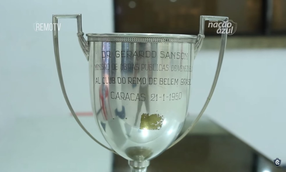 Taça do Torneio Internacional de Caracas, conquistada pelo Remo em janeiro de 1950 — Foto: Reprodução/RemoTV