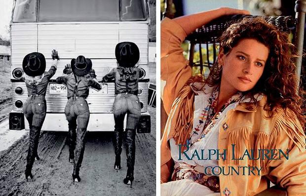 À esquerda, campanhas da Guess (2014) e da ralph Lauren (1989) (Foto: Reprodução e Divulgação)