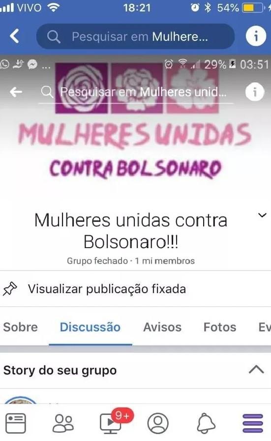 """O grupo """"Mulheres contra Bolsonaro"""" chegou a 1 milhão de participantes no Facebook"""
