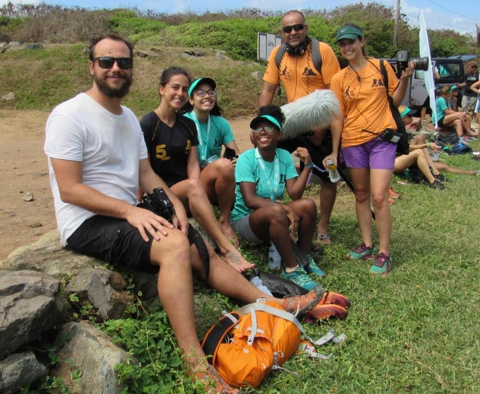 Equipe do Esporte Espetacula depois da prova — Foto: Ana Clara Marinho/TV Globo