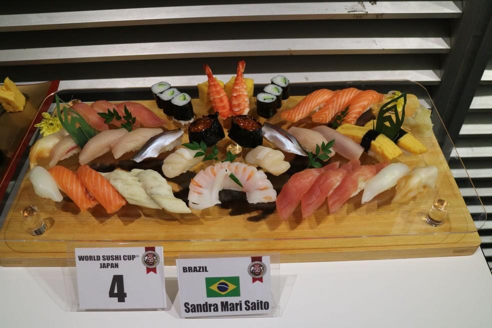 Sandra Mari Saito ficou em quarto lugar no ranking mundial; sushis feitos na categoria  Edomae — Foto: Arquivo Pessoal/Sandra Mari Saito