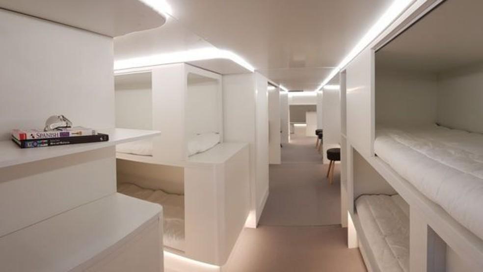Airbus está considerando construir cápsulas para dormir na área de carga do avião (Foto: Airbus)