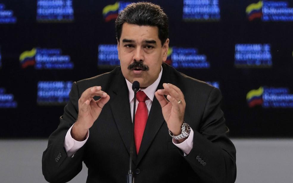 O presidente da Venezuela, Nicolás Maduro, durante encontro com empresários no palácio Miraflores, em Caracas, na quarta-feira (5) (Foto: HO/Venezuelan Presidency/AFP)