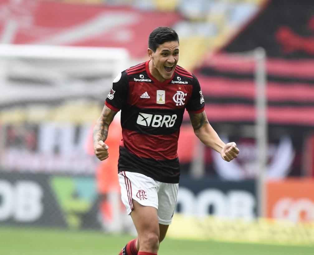 Pedro comemora gol pelo Flamengo — Foto: André Durão