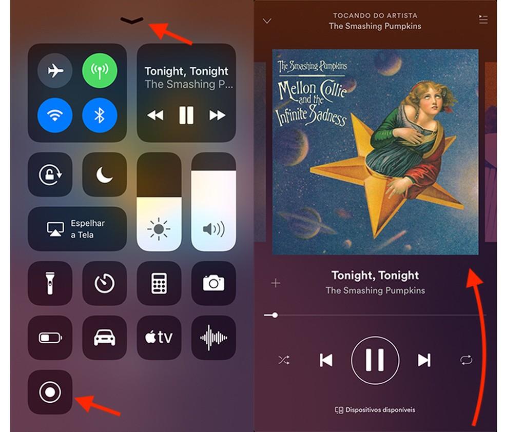 Ação para gravar a tela do iPhone e capturar a música que está tocando no Spotify (Foto: Reprodução/Marvin Costa)