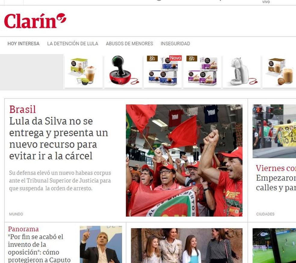 Jornal Clarín destaca pedido de HC para Lula (Foto: Reprodução/Clarín)