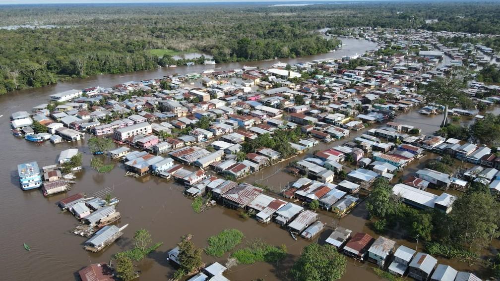Anamã é, segundo o Governo do Amazonas, a cidade mais afetada pela cheia de 2021. Segundo o Estado, a cidade está 100% inundada pelas águas.  — Foto: Defesa Civil do Amazonas