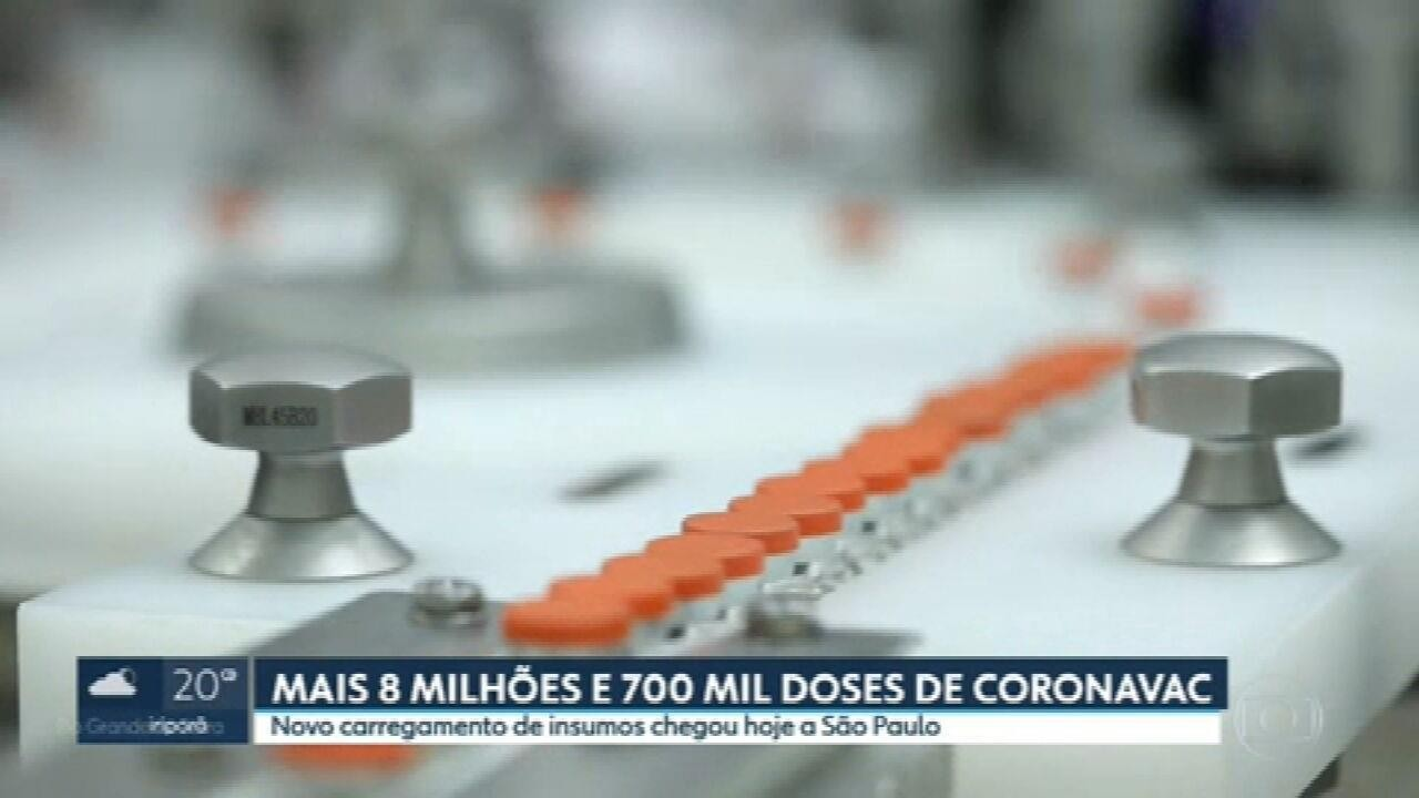 Butantan recebe segundo carregamento de insumos para produzir mais doses da Coronavac