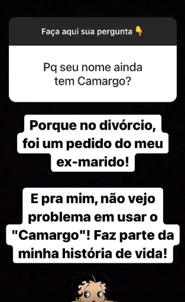 Resposta de Zilu Camargo sobre Zezé Di Camargo (Foto: Reprodução/Instagram)