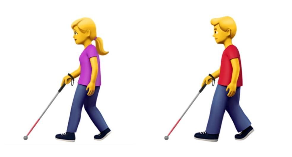 Emoji representa pessoa com deficiência visual usando um bastão branco (Foto: Divulgação)