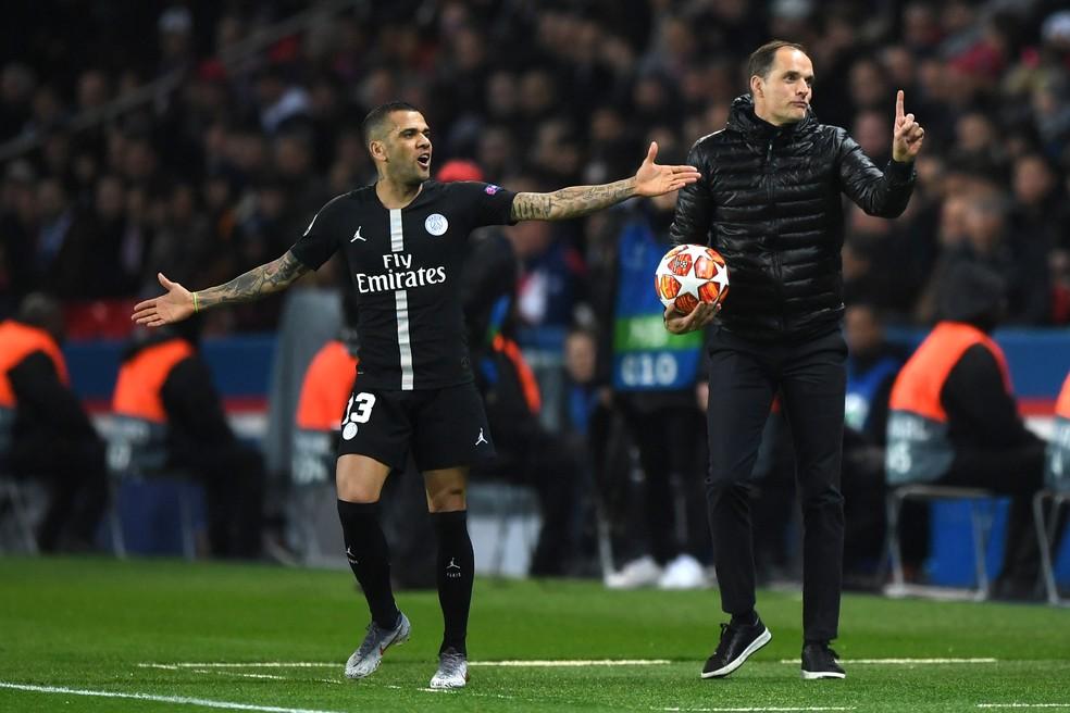 """Daniel Alves e Thomas Tuchel: """"Nunca vi um treinador tão inteligente"""" — Foto: Shaun Botterill/Getty Images"""