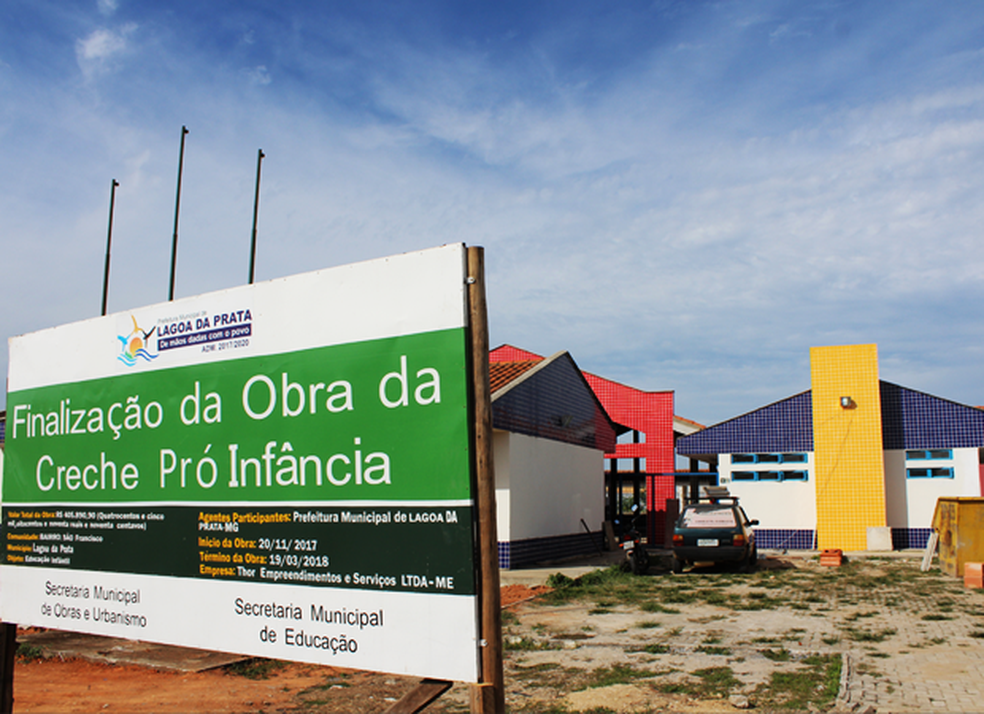 Fachada da creche do próinfância em Lagoa da Prata — Foto: Divulgação
