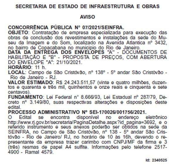 O aviso publicado no Diário Oficial do estado