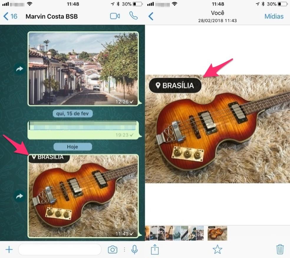 Ação para abrir uma imagem com sticker de geolocalização no WhatsApp para iPhone (Foto: Reprodução/Marvin Costa)