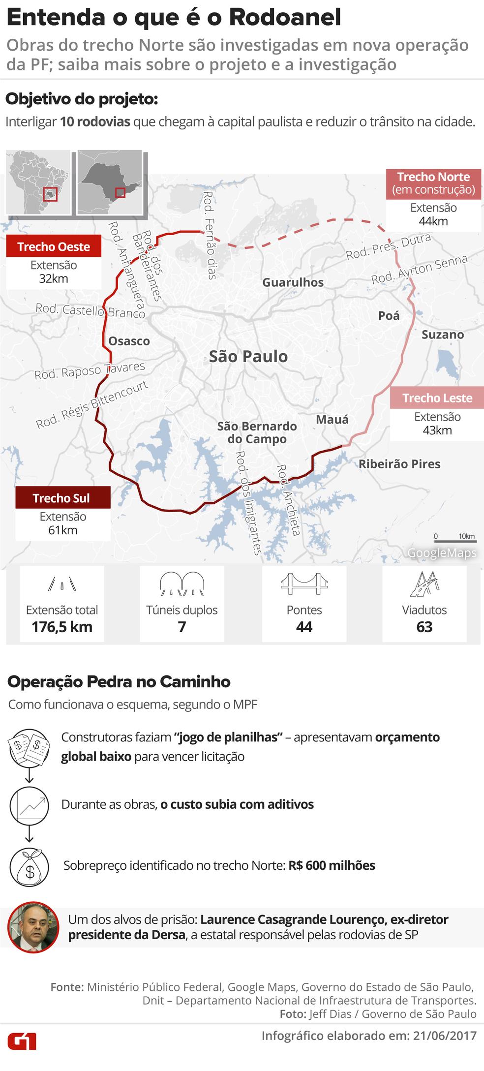 Mapa mostra o Rodoanel e explica a nova investigação sobre fraudes (Foto: Infografia: Juliane Monteiro/G1)