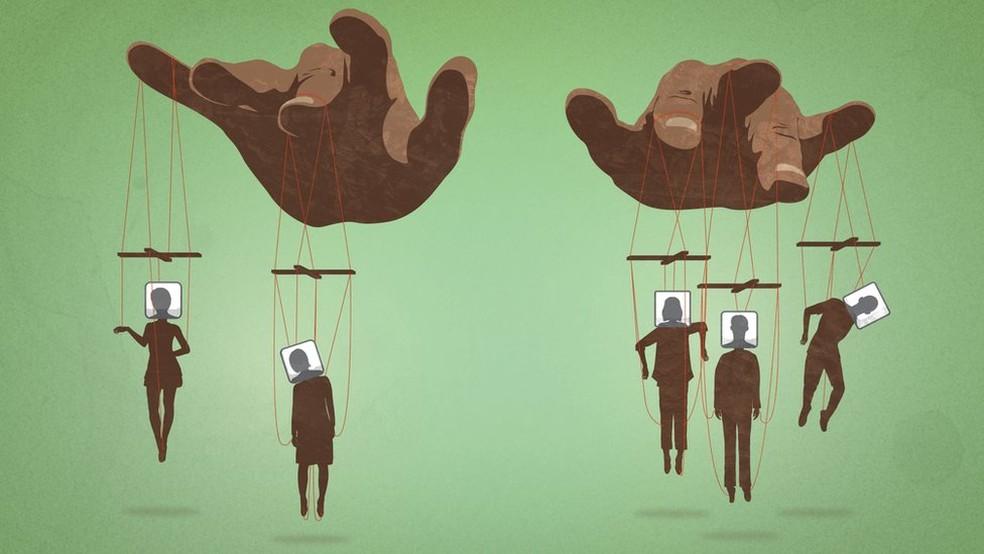 Cada funcionário seria responsável por controlar de 20 a 50 perfis falsos (Foto: Ilustração: Kako Abraham, BBC)