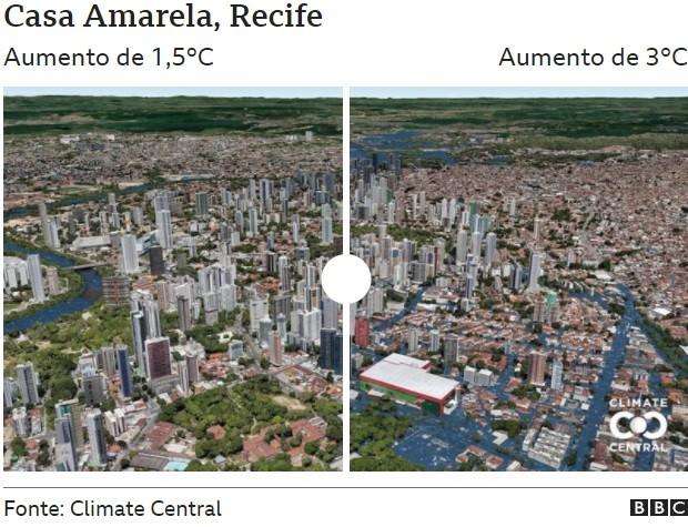 Casa Amarela (Foto: CLIMATE CENTRAL via BBC)