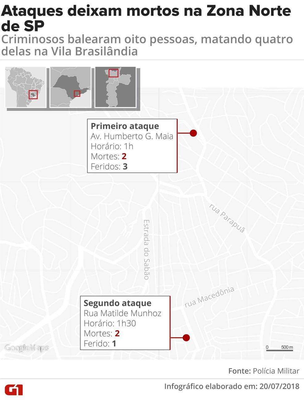 Mapa indica locais dos ataques na Vila Brasilândia (Foto: Claudia Ferreira/G1)