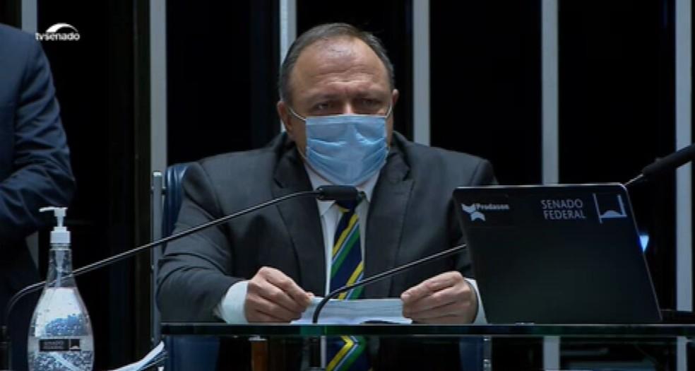 Eduardo Pazuello explica ao Senado ações de combate à pandemia — Foto: Reprodução/TV Senado