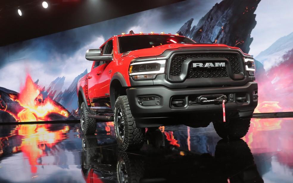 Picape RAM é exibida no Salão de Detroit 2019, em janeiro último. Marca faz parte do grupo Fiat Chrysler. — Foto: Rebecca Cook/Reuters