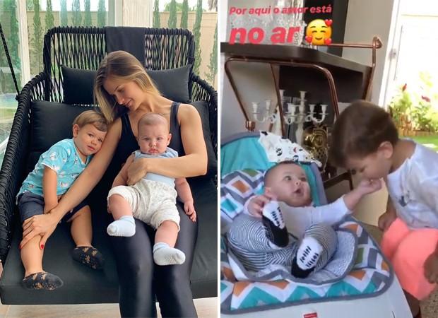 Andressa Suita e os filhos, Gabriel e Samuel (Foto: Reprodução / Instagram)