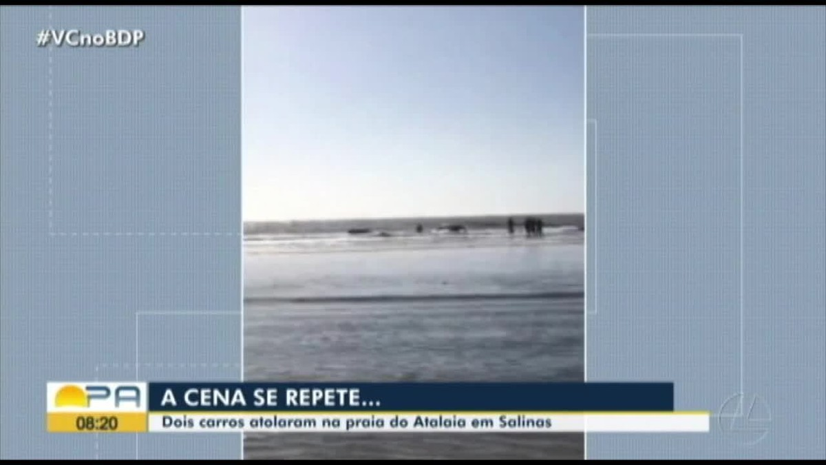 Maré sobe e engole carros da praia do Atalaia, no litoral paraense – G1