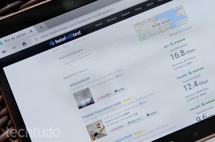 Hotelwifitest mostra a velocidade do Wi-Fi nos hotéis (Foto: Barbara Mannara/TechTudo)