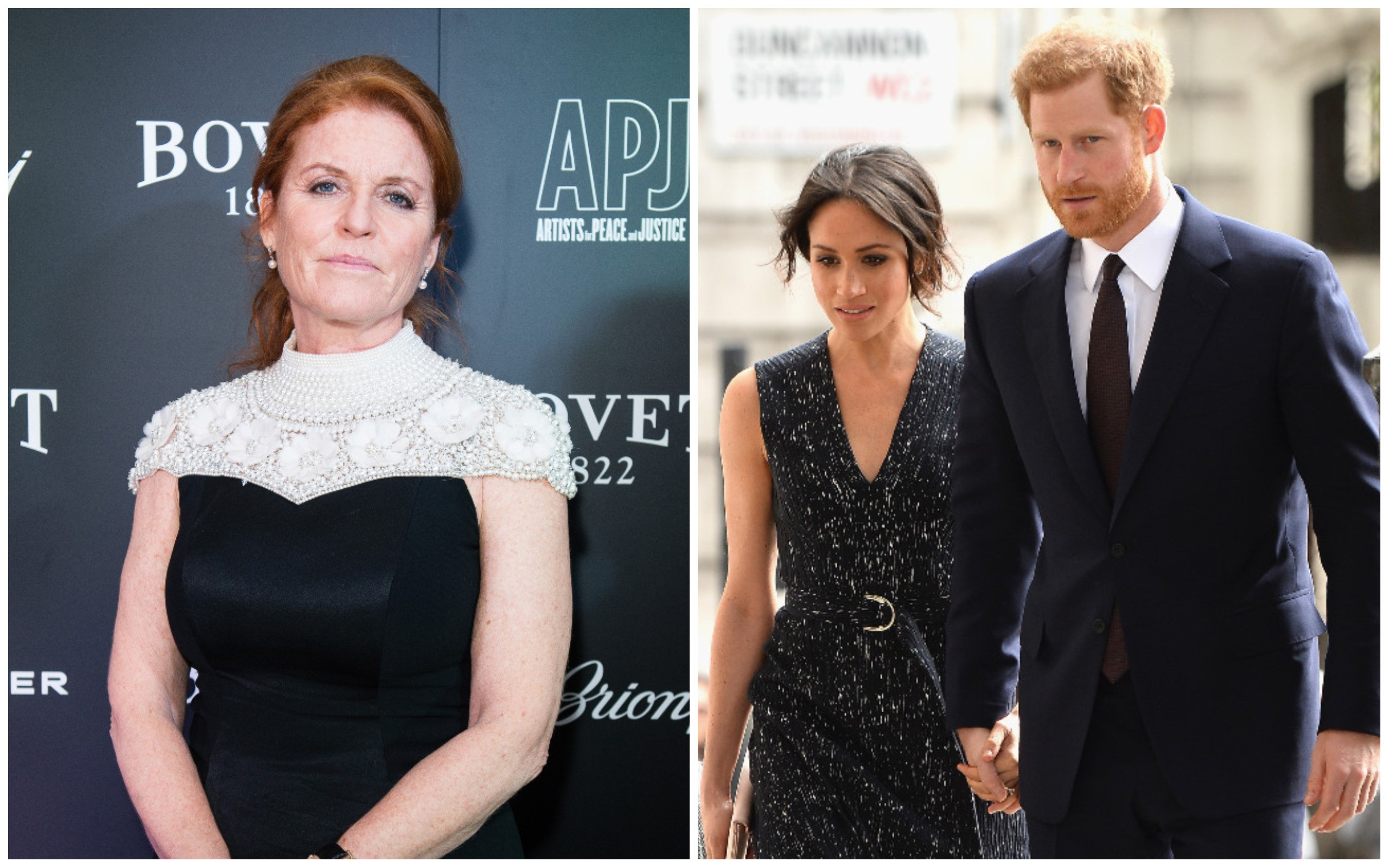 Sarah Ferguson Duquesa de York e Príncipe Harry e Meghan Markle (Foto: Getty Images)