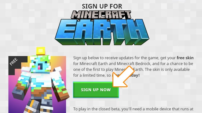 minecraft earth sign up
