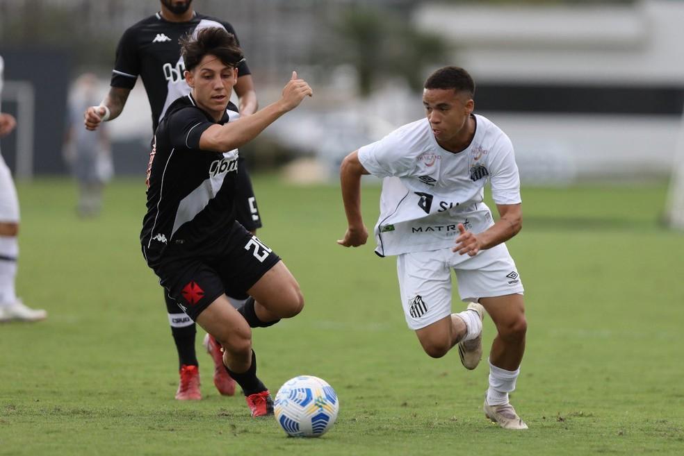 Vasco goleou o Santos no CT Rei Pelé e avançou às quartas do Brasileiro sub-20 — Foto: Pedro Ernesto Guerra Azevedo/Santos FC