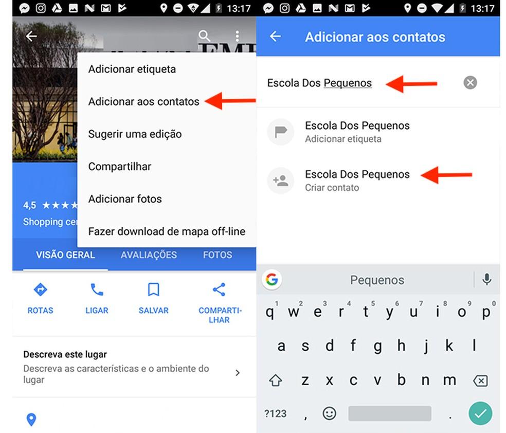 Opção para salvar como contato um local do Google Maps para Android (Foto: Reprodução/Marvin Costa)