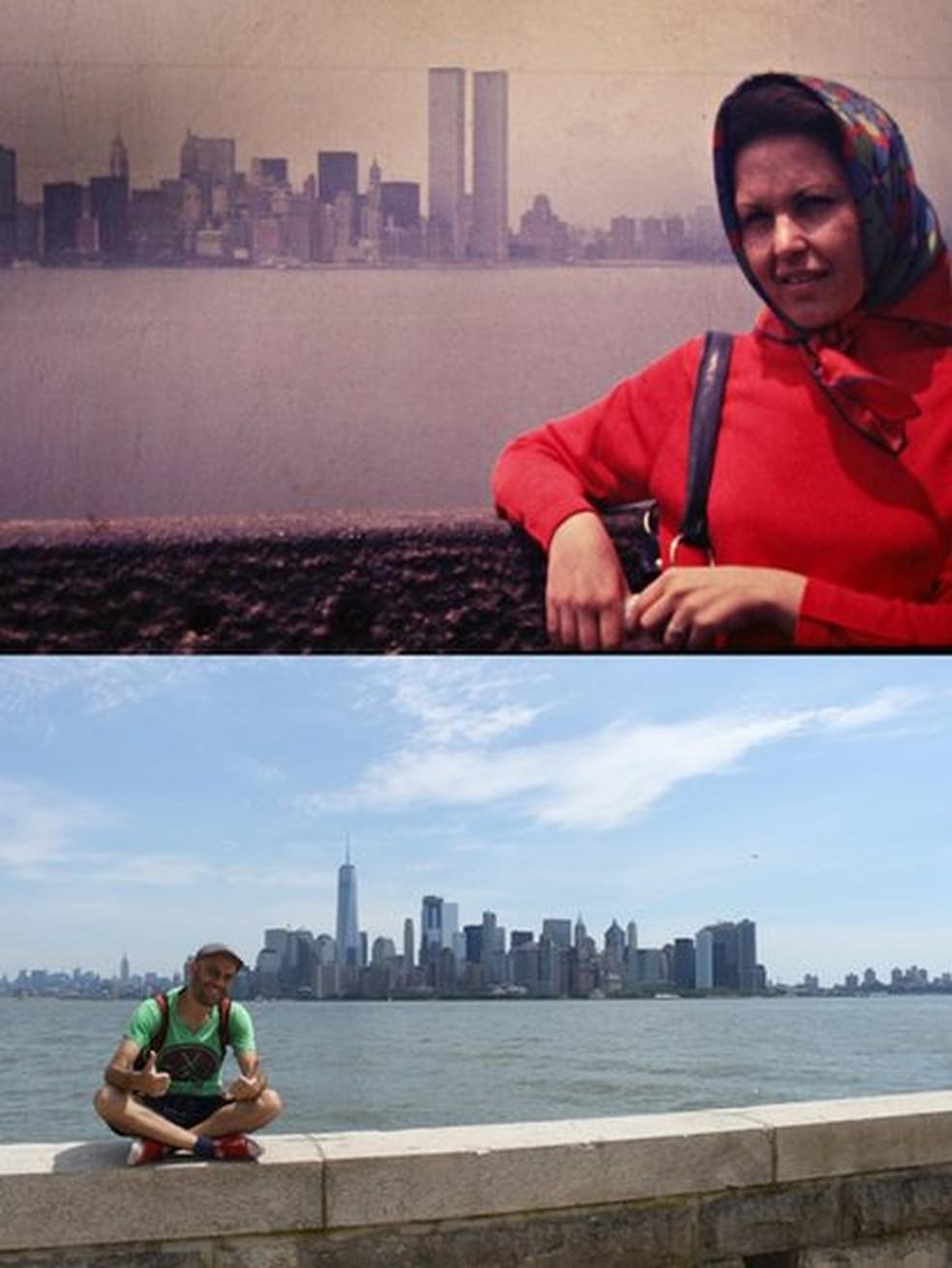 Nova York e seus visitantes em imagens com intervalo de quatro décadas: a da mulher, por volta de 1976, e a de Marcelo, em 2016 — Foto: BBC News Brasil