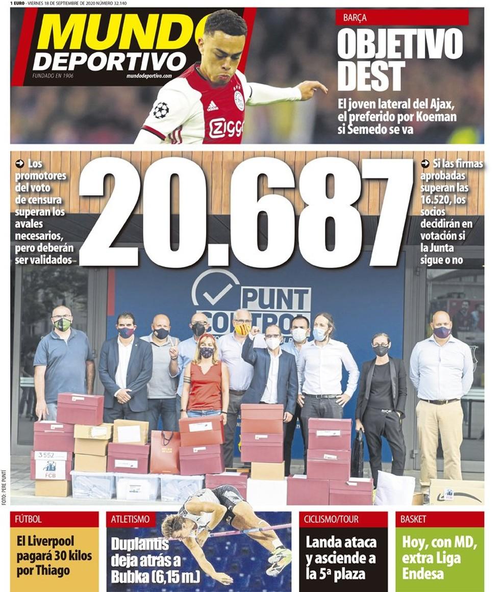"""Capa do jornal """"Mundo Deportivo"""" destaca as 20.687 assinaturas colhidas, em número até o fechamento da edição — Foto: Reprodução/Mundo Deportivo"""