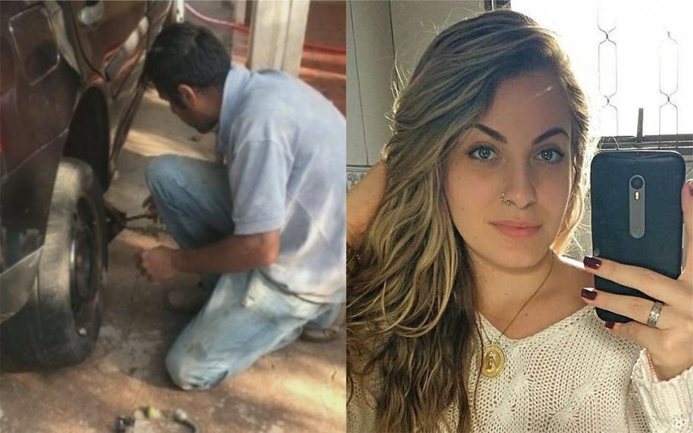 Homem acusado  de matar universitária Mariana Bazza, de Bariri, ajudou a jovem a trocar o pneu — Foto: TV TEM/Arquivo Pessoal
