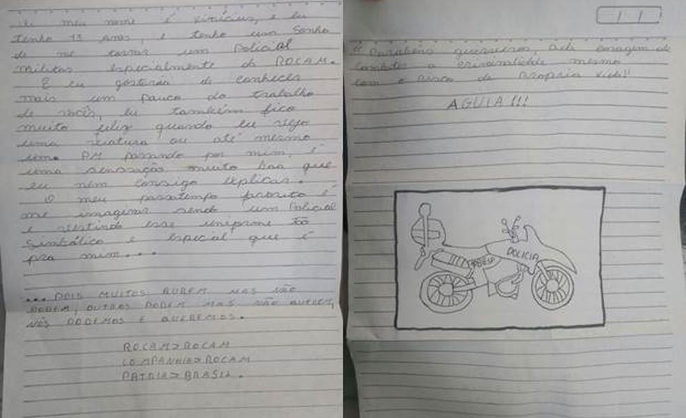 Na carta escrita aos policiais, o menino desenhou uma moto da Rocam (Foto: Biesp/Divulgação)