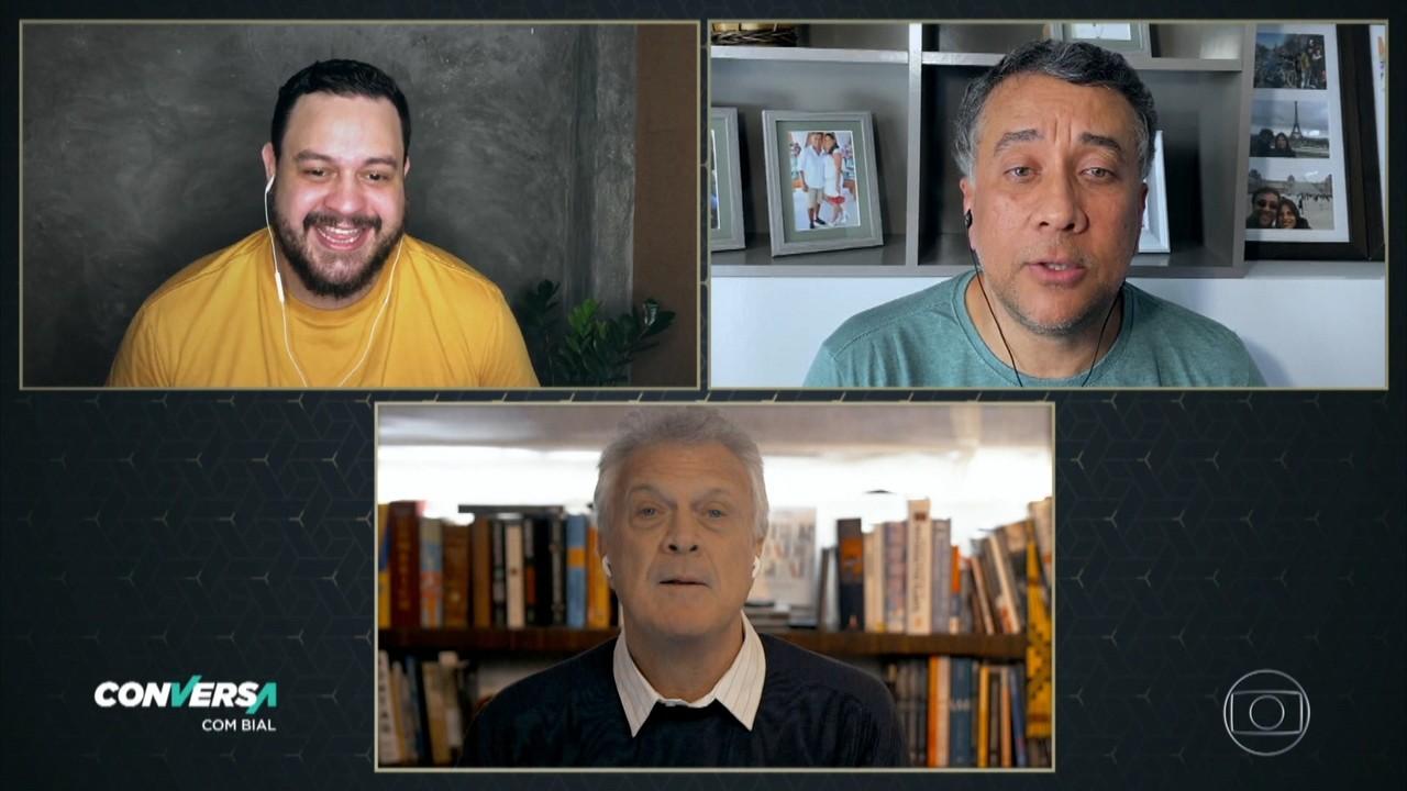 Maurício Manfrini e Estevam Nabote estão juntos no filme 'No Gogó do Paulinho'
