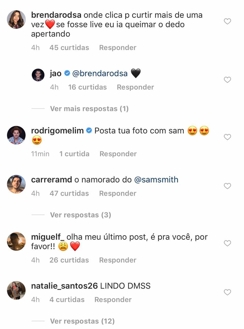 Comentários de fãs no último post feito pelo Jão no Instagram (Foto: Reprodução: Instagram)
