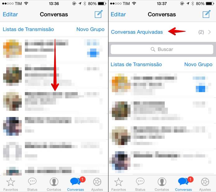 Acessando as conversas arquivadas no WhatsApp para iOS (Foto: Reprodução/Helito Bijora)