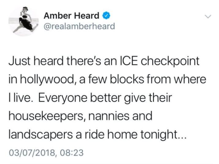 O tuíte racista da atriz Amber Heard (Foto: Twitter)