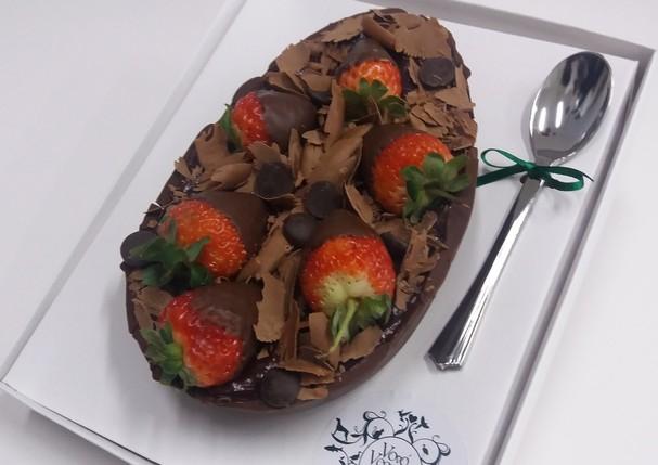 Vovó vegana, ovo de colher chocolate com morango (Foto: Divulgação)