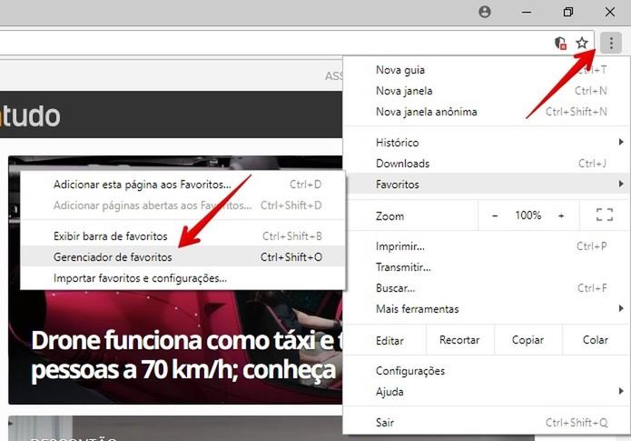 Abra o gerenciador de favoritos do Chrome (Foto: Reprodução/Helito Bijora)