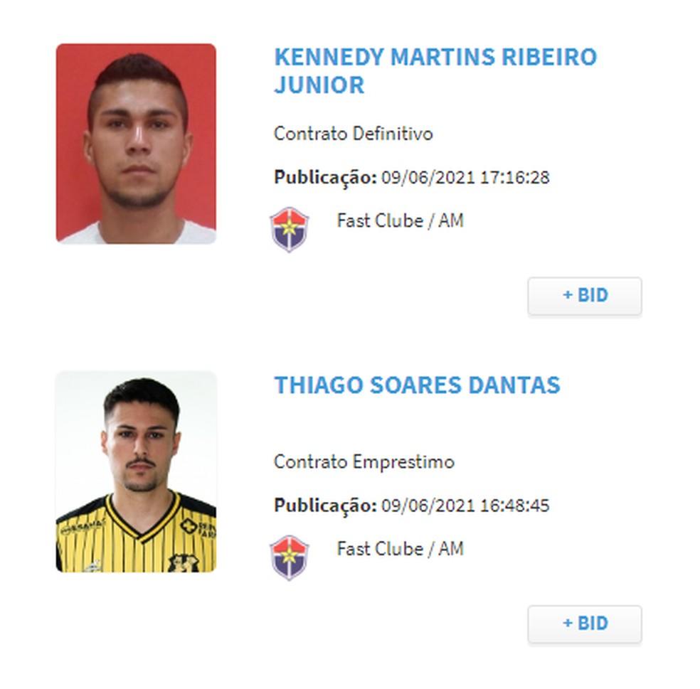 Guigui e Thiago Dantas são inscritos no BID — Foto: Reprodução/CBF