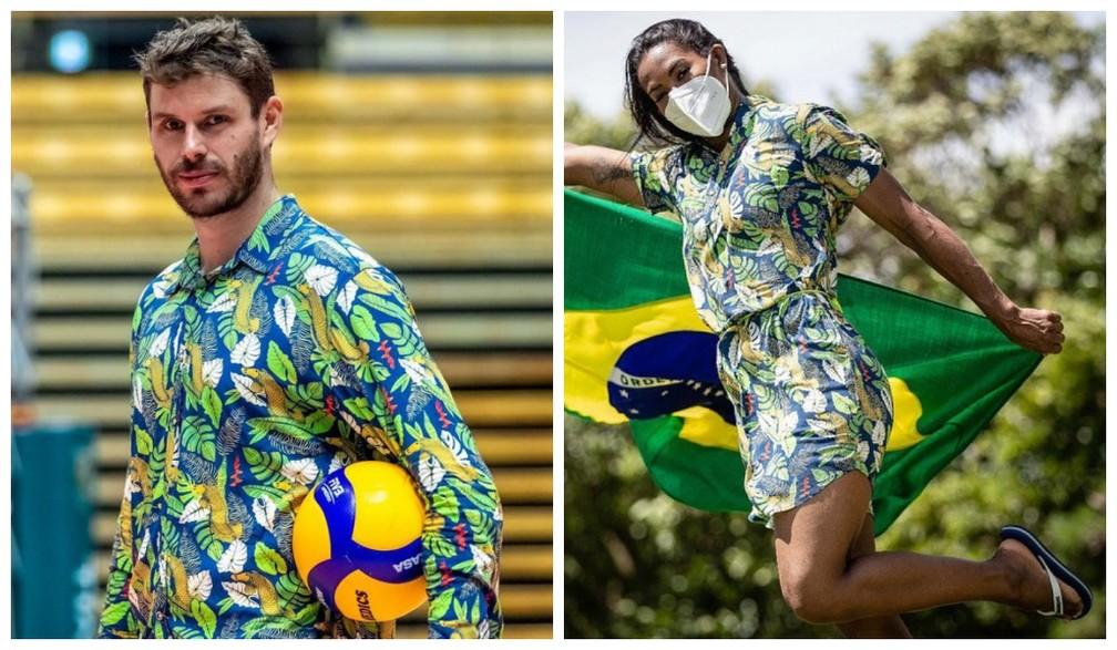Time do Brasil usa look com estampa tropical e chinelo no pé — Foto: @TimeBrasil/ Reprodução