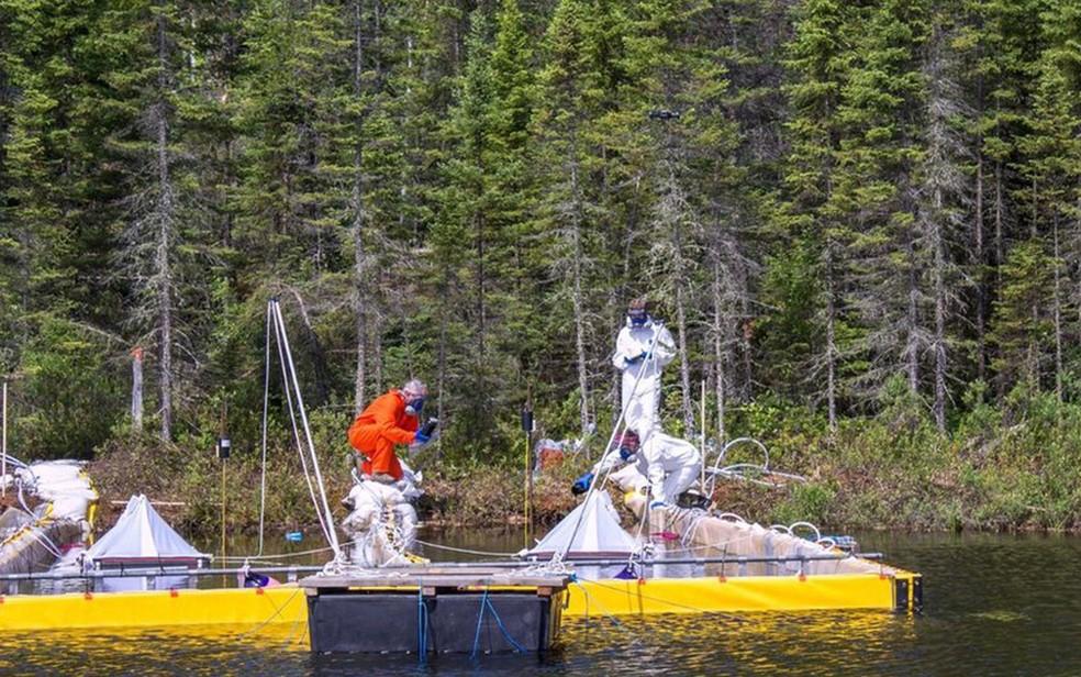 Pesquisadores jogam betume em lago canadense (Foto: IISD Experimental Lakes Area)