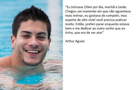 Arthur Aguiar chegou a ser vice-campeão brasileiro de natação. Em entrevista ao Gshow, ele falou sobre a relação com o esporte  Isabella Pinheiro / Gshow