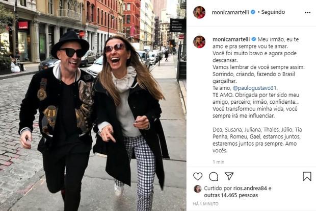 Monica Martelli se despede de Paulo Gustavo (Foto: Reprodução/Instagram)