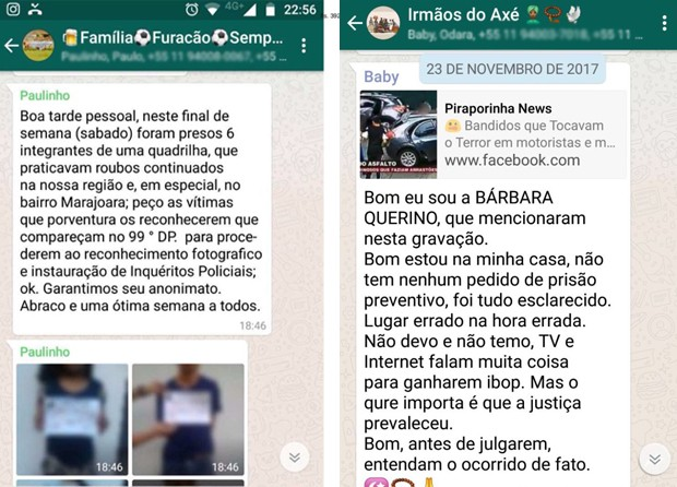 Fots de Bárbara começaram a circular em grupos de WhatsApp convocando para o reconhecimento de assaltos (Foto: Arquivo pessoal)