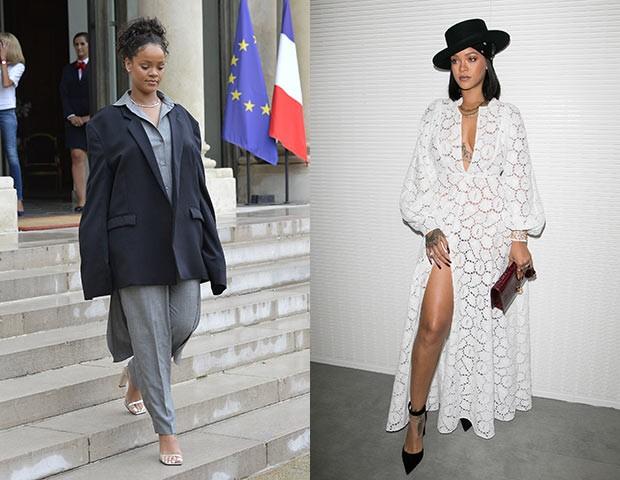 O contraste dos looks de Rihanna (Foto: Getty Images)